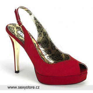 červená satén boty na podpatku s platformou PEONY-03