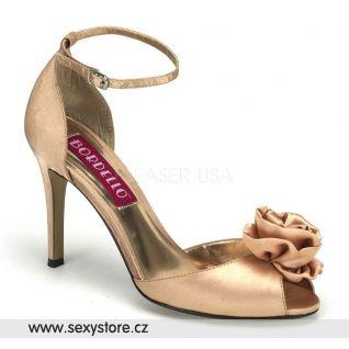 Svatební béžové saténové boty ROSA-02/CHAM/SAT