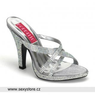 stříbrné sandálky SIREN-02R ozdobné kameny