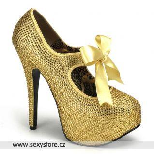 Zlaté luxusní lodičky TEEZE-04R/G na podpatku