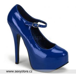 Modré dámské lodičky TEEZE-07/BLU na podpatku