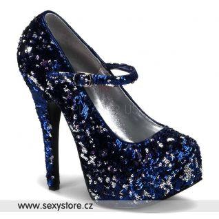 Sexy lodičky TEEZE-07SQ/BLUS modré stříbrné sequiny