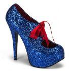 Modré dámské lodičky TEEZE-10G/BLU s glitry