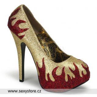 Sexy zlaté lodičky červené plameny TEEZE-27/GR