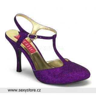VIOLETTE-12G/PUR purpurové dámské lodičky na středním podpatku