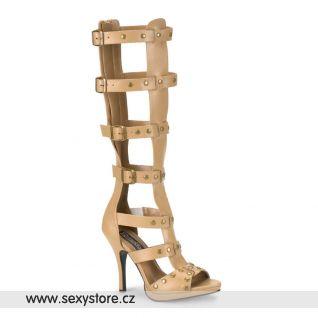 GLADIATOR-208/T/PU sandálky na podpatku s pásky pod kolena tan kůže