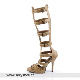 GLADIATOR-208/T/PU sandálky na podpatku s pásky pod kolena tan kůže skladem