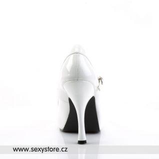PRETTY-50/W bílé dámské lodičky na podpatku