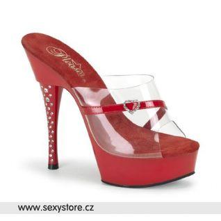 DIAMOND-601H/CR/R sexy boty na podpatku na střední platformě červené/průhledné