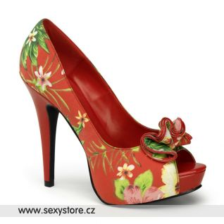 LOLITA-11červené sexy lodičky na podpatku a nízké platformě květinový vzor