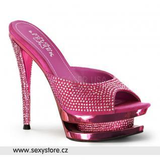 FASCINATE-601DM růžové luxusní dámské sandále na podpatku