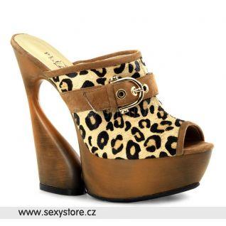 SWAN-601LP luxusní moderní kožená obuv na podpatku a platformě tan kůže