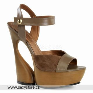 SWAN-612 luxusní moderní hnědá kožená obuv na podpatku a platformě