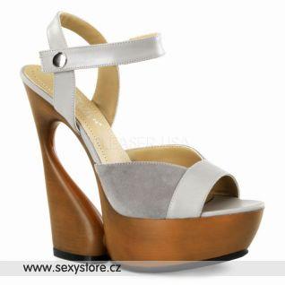 SWAN-612 luxusní moderní kožená obuv na podpatku a platformě šedivá kůže