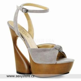 SWAN-636 luxusní moderní kožená obuv na podpatku a platformě taupe kůže