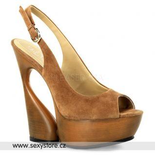 SWAN-654 luxusní moderní semišová obuv na podpatku a platformě cocoa semiš