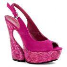SWAN-654DM luxusní moderní obuv na podpatku a platformě růžová barva