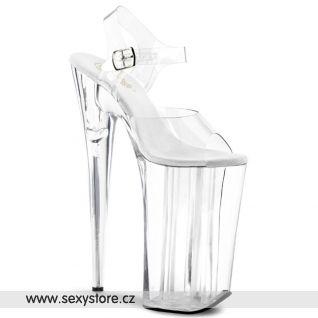 BEYOND-008/C/M sexy boty skleněnky na podpatku a platformě
