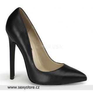 SEXY-20/BLE černé kožené dámské lodičky na vysokém podpatku