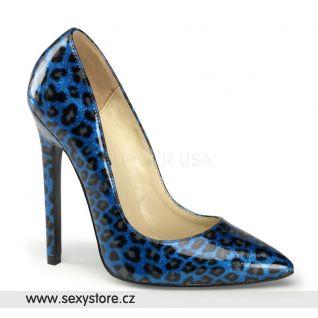 SEXY-20/BLPCP modré dámské lodičky na vysokém podpatku