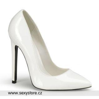 SEXY-20/W bílé dámské lodičky na vysokém podpatku