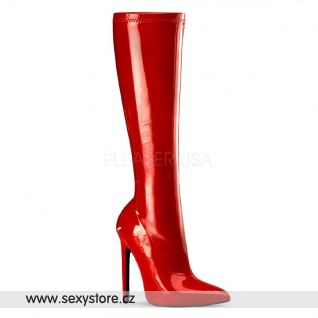 SEXY-2000/RSPT červené dámské kozačky na vysokém podpatku