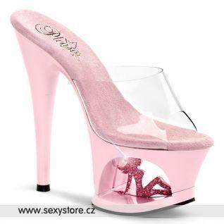 MOON-701TG/C/BP růžové sexy boty na podpatku a platformě