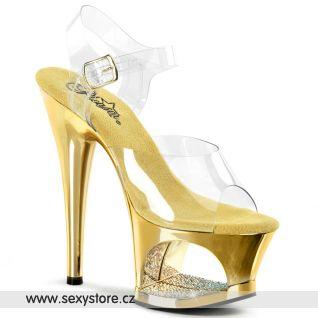 MOON-708DMCH/C/FS zlatá sexy obuv na podpatku a platformě