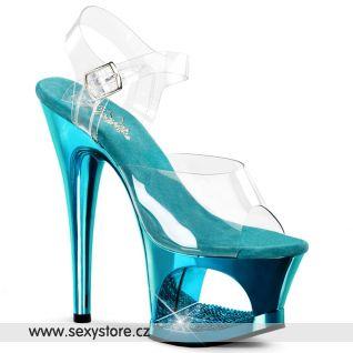 MOON-708DMCH/C/TE světle modrá sexy obuv na podpatku a platformě