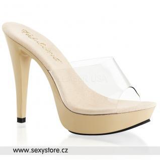 COCKTAIL-501/C/CR krémové sexy pantofle na podpatku a platformě