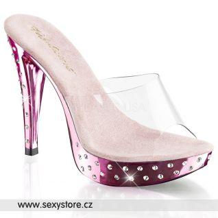 COCKTAIL-501SDT/C/BPCH růžové sexy pantofle na podpatku s ozdobnými kameny na podešvi a podpatku