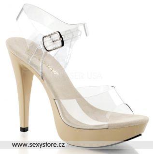 COCKTAIL-508/C/CR krémové sexy boty na podpatku a nízké platformě s průhlednými pásky