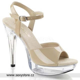 krémové boty COCKTAIL-509/CR/C na podpatku a platformě