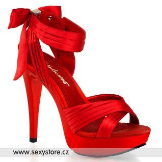 červené saténové společenské boty COCKTAIL-568/RSA/M na podpatku a platformě