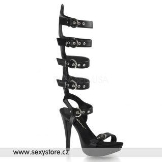 COCKTAIL-589/BPU/M moderní boty na podpatku a platformě s pásky na lýtko
