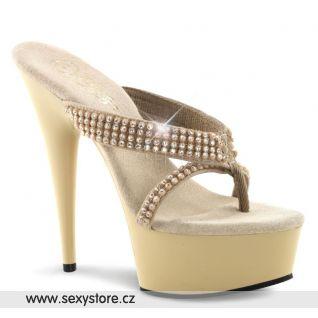 Krémové sex boty DELIGHT-603-1/CR/NB na podpatku