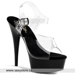 Černé sexy boty DELIGHT-608/C/B na podpatku