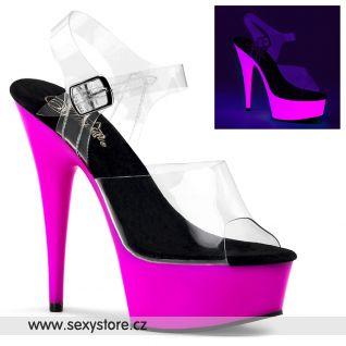 Sexy svítivé boty na podpatku DELIGHT-608UV/C/NPP
