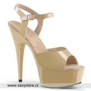 Krémové sexy boty na podpatku DELIGHT-609/CR/M