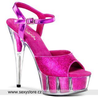 Tmavě růžové sexy boty na podpatku DELIGHT-609-5G/HP/M