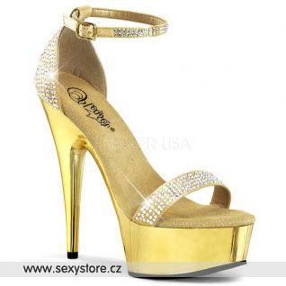 Zlaté boty na podpatku DELIGHT-617RS/GSA/M