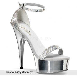 Luxusní stříbrná obuv na podpatku DELIGHT-617RS/SSA/M