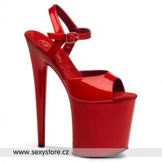 Červené sexy boty FLAMINGO-809/R/M na podpatku a platformě