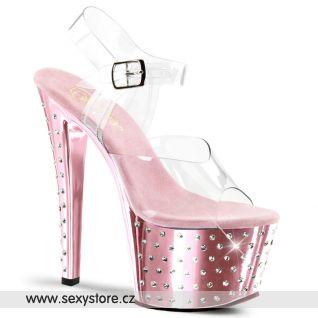 STARDUST-708/C/BPCH růžové sexy boty