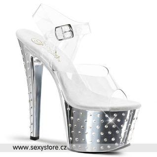 sexy boty na vysoké platformě a podpatku STARDUST-708/C/SCH s ozdobnými kamínky