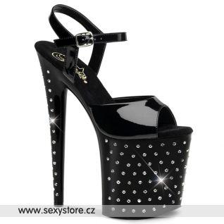 Sexy černé boty STARDUST-809/B/M na extrémním podpatku
