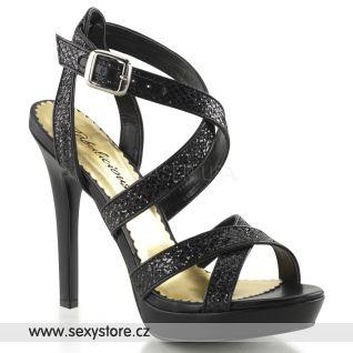 Černé sandálky na podpatku a platformě LUMINA-21/BG