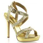 Zlaté sandálky na podpatku a platformě LUMINA-21/GG