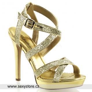 Zlaté sandálky na podpatku a platformě LUMINA-21/GG skladem