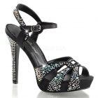 Luxusní černé sandálky na podpatku a platformě LUMINA-23/BSA